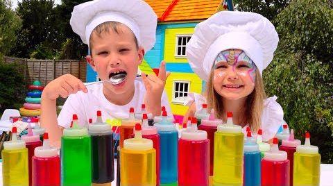 Видео 3 цВЕтА тОппИНг и мОрОЖЕНое ЧЕЛлЕНдЖ или 3 colors ice cream topping CHALLENGE