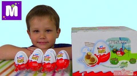 Видео Ангри бердс Киндер Джой игрушки распаковка