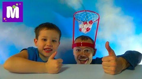 Видео Баскетбол на голове играем шариками распаковка игрушки Basket Case headband hoop game