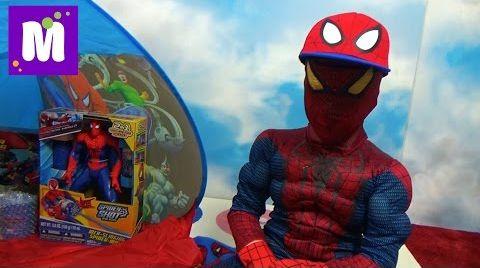 Видео Человек - Паук стреляет паутиной и открывает много игрушек в палатке Spider-Man
