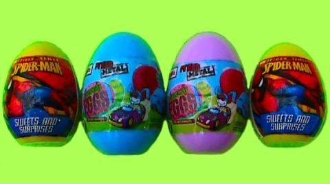 Видео Человек Паук Тачки машинки яйца сюрприз