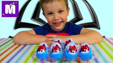 Видео Человек-паук яйца сюрприз игрушки распаковка