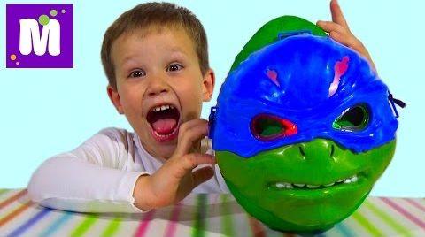 Видео Черепашки Ниндзя большое яйцо сюрприз распаковка игрушки