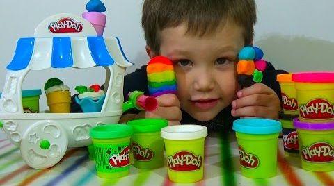 Видео Делаем мороженное на палочке рожок из пластилина