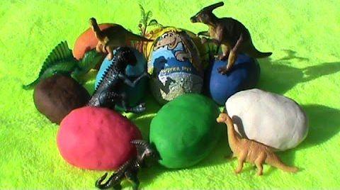 Видео Динозавры игрушки на русском сюрприз ПлэйДо яйца