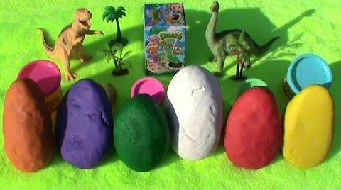 Видео Динозавры игрушки сюрприз ПлэйДо яйца