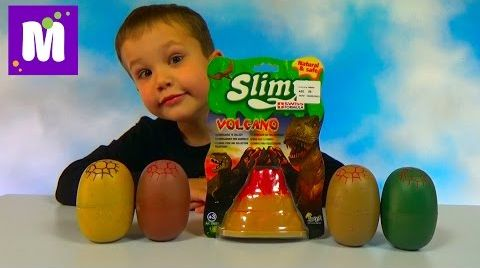 Видео Динозавры игрушки в слизи в яйцах и вулкане
