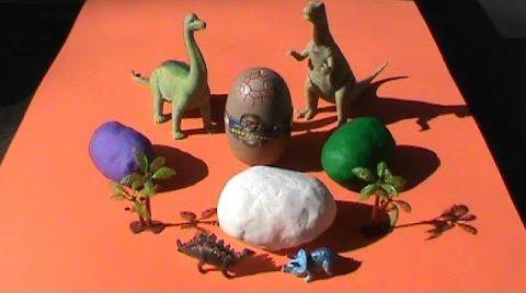 Видео Динозавры Яйца сюрприз из ПлэйДо Play-Doh тесто