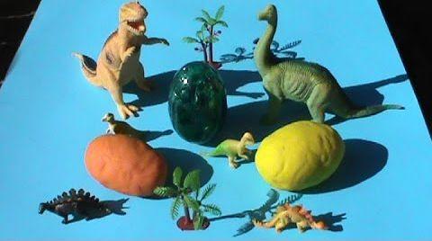 Видео Динозавры Яйца сюрприз ПлэйДо Play-Doh тесто игрушки