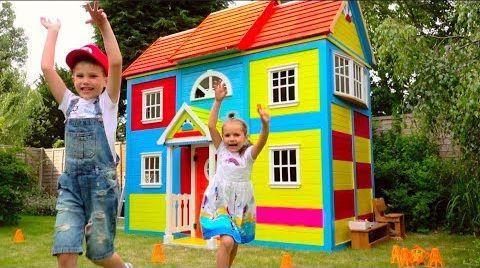 Видео DIY 2 этажный ДОМ 4 комнатный для детей и РУМ ТУР или Pretend Play in DIY Playhouse for children
