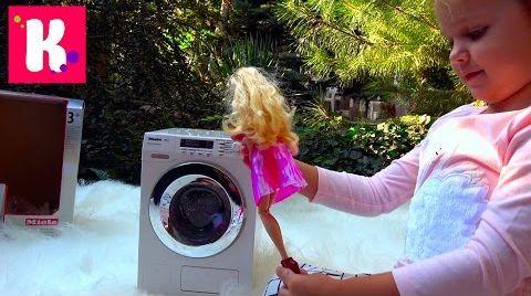 Видео Дизайнерская мастерская и Кукла Barbie/ игрушечная стиральная машинка / играем на улице
