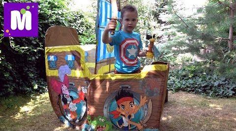 Видео Джейк и Пираты корабль палатка Дисней и сундук с игрушками и конфетный Динозавр