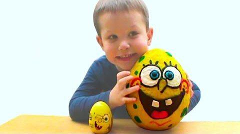 Видео Губка Спанч Боб Огромное яйцо с сюрпризом открываем игрушки