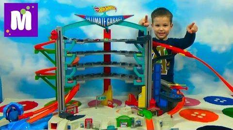 Видео ХотВилс гараж с трассами и машинками распаковка игрушки Hot Wheels