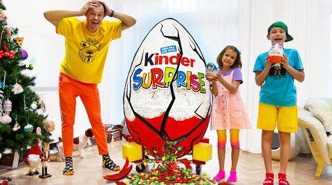 Видео Катя и Макс хотели разделить огромное шоколадное яйцо с папой
