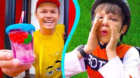 Видео Катя и Макс играют в Съедобное и несъедобное кафе с папой
