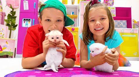 Видео Катя и Макс нашли котят и маленького щенка