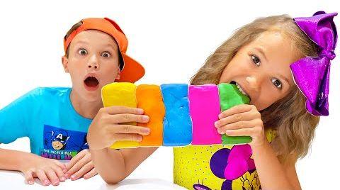 Видео Катя и Макс приготовили Съедобный слайм