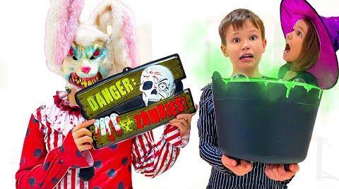 Видео Катя и Макс собирают конфеты на Хэллоуин
