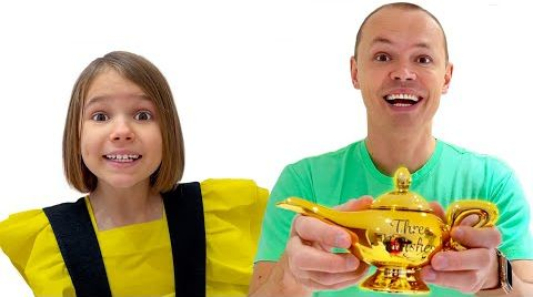 Видео Катя и папа исполняют желания на День Рождения