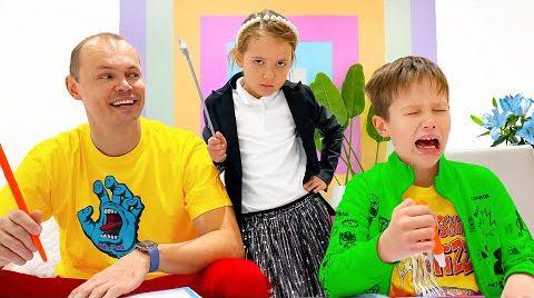 Видео Катя как учитель для папы и Макса
