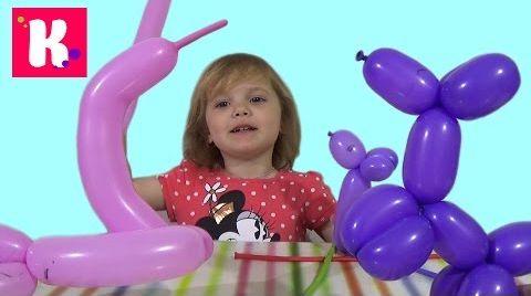 Видео Катя с Папой - Надувают шарики, собачка, мышка