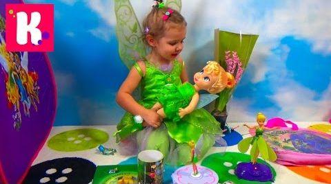 Видео Катя в платье Фея Динь Динь/ Обзор игрушек в палатке Disney Fairies