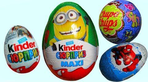 Видео Киндер Макси Миньены  яйца игрушки