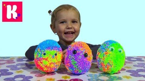 Видео Куры и цыплята в сюрпризе яйце из шарикового пластилина