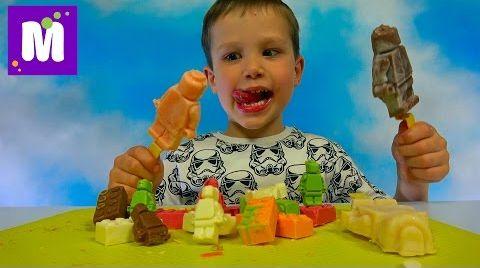 Видео Лего фигурки и блоки из шоколада Макс делает конфеты и мороженое LEGO