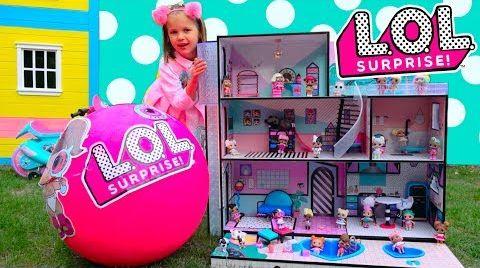 Видео LOL Dolls Surprise House Катя с папой собирают игрушечный домик ЛОЛ для кукол