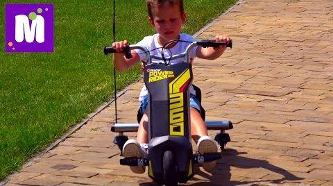 Видео Макс делает Полицейские развороты на машинке Razor Power Rider 360 и Папа на скейте Разор RipSurf