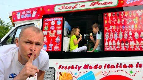 Видео Макс и Катя играют в Вагончике мороженого или  Dad's ice-cream truck