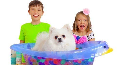 Видео Макс и Катя купают собачку