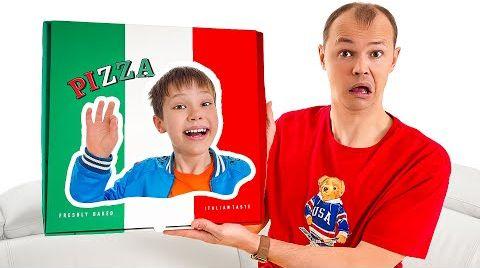 Видео Макс и Катя не дают папе съесть всю пиццу