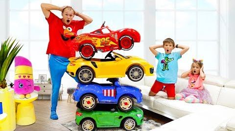 Max and Katy ride on Magic Toy Cars and Transform car for kids