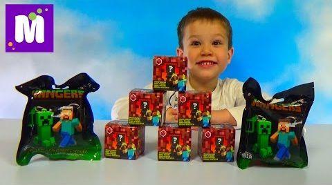 Видео Майнкрафт сюрпризы распаковка коробочек и пакетиков с игрушками Minecraft