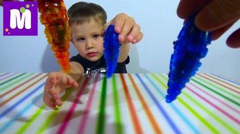 Видео Микро-робот личинка Ларва игрушка распаковка