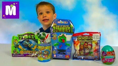 Видео Монстрики и зомби ходит ножками распаковка игрушек и сюрпризов