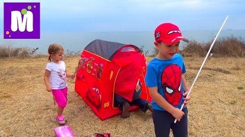 Видео Пикник с палаткой Молния Маквин и костром на берегу моря