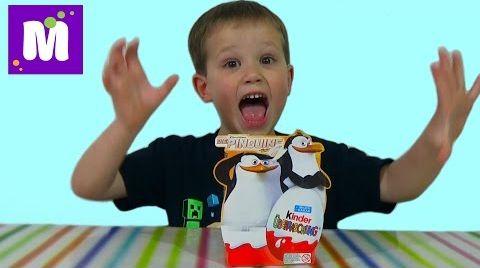 Видео Пингвины Мадагаскара Киндер сюрприз игрушки распаковка
