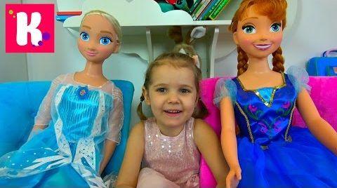 Видео Подарок на День Рождения Кати который опоздал на 1 месяц/ Куклы FROZEN Эльза и Анна в рост Miss Katy