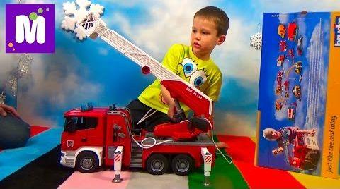 Видео Пожарная машина Брюдер распаковка играем машинкой