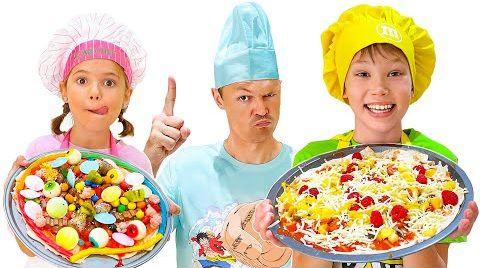 Видео Полезная или сладкая Пицца новый Челлендж от Макса и Кати