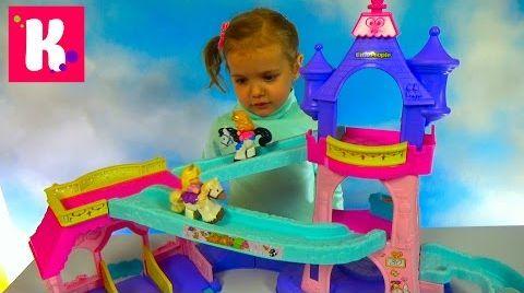 Видео Принцессы Диснея на пони скачут по горкам в замке / Обзор игрушки