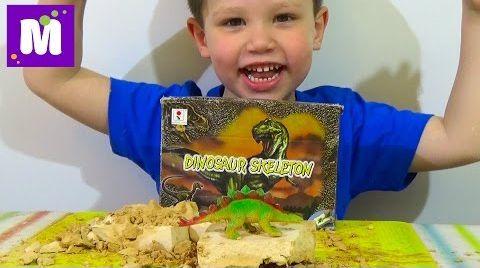Видео Раскопки динозавра набор ищем динозавра игрушка распаковка