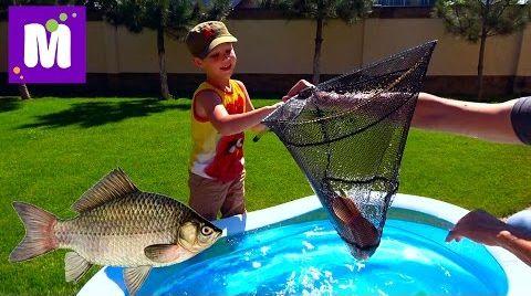Видео Рыбалка на карася и сома Живые раки и крабы Макс ловит рыбу в бассейне с жабами