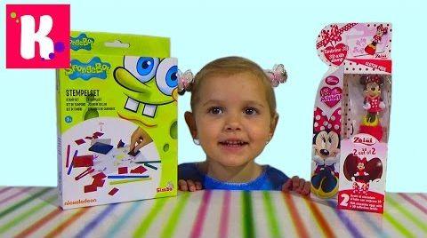 Видео Спанч боб штампы и Минни Маус сюрприз/ Обзор игрушек