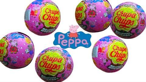 Видео Свинка Пеппа Чупа Чупс шары с сюрприз открываем игрушки