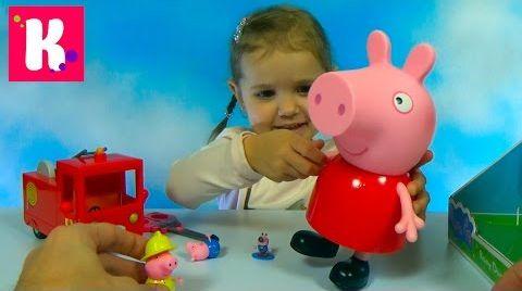 Видео Свинка Пеппа гигант / Пожарная машина мисс Крольчихи / Обзор игрушек